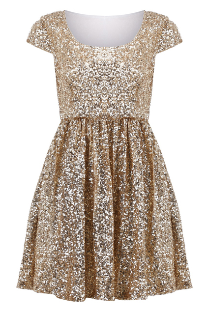 Paillettes Apricot Shift Dress Price:$59.99 Romwe.com