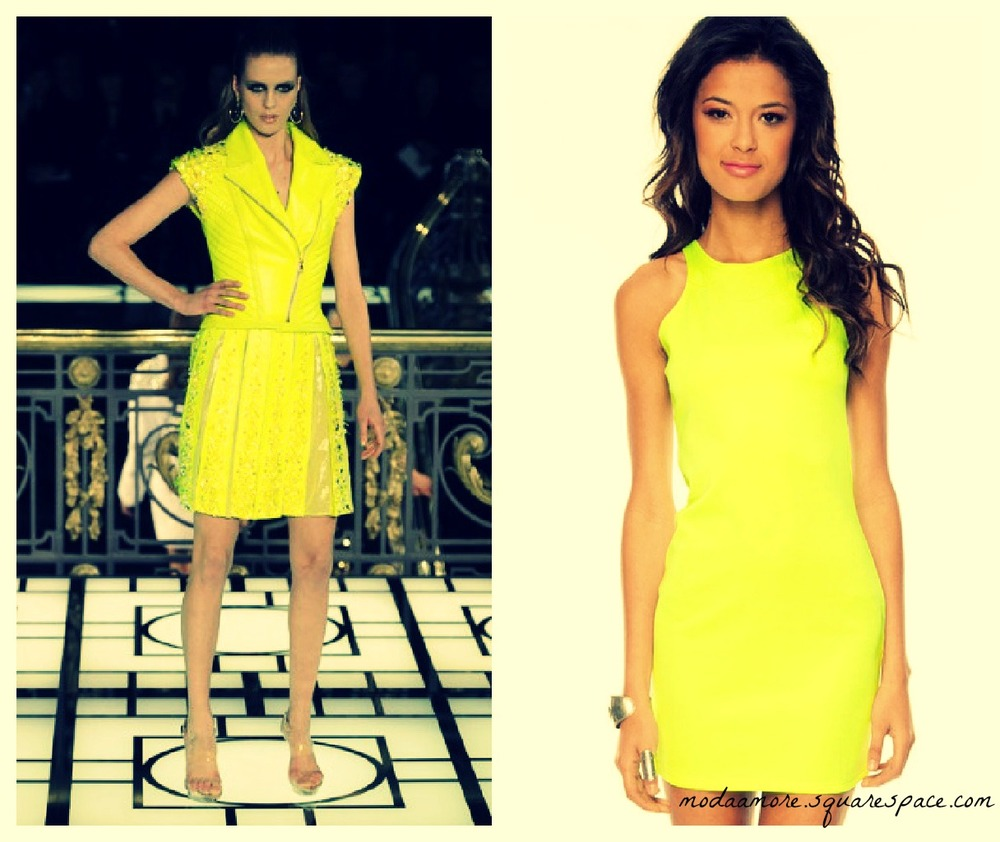 The Versace Runway Look on the right..Inspired this Neon colored dress on the left.   Scuba Doo Racerback Dress. Price: $19 TOBI.COM