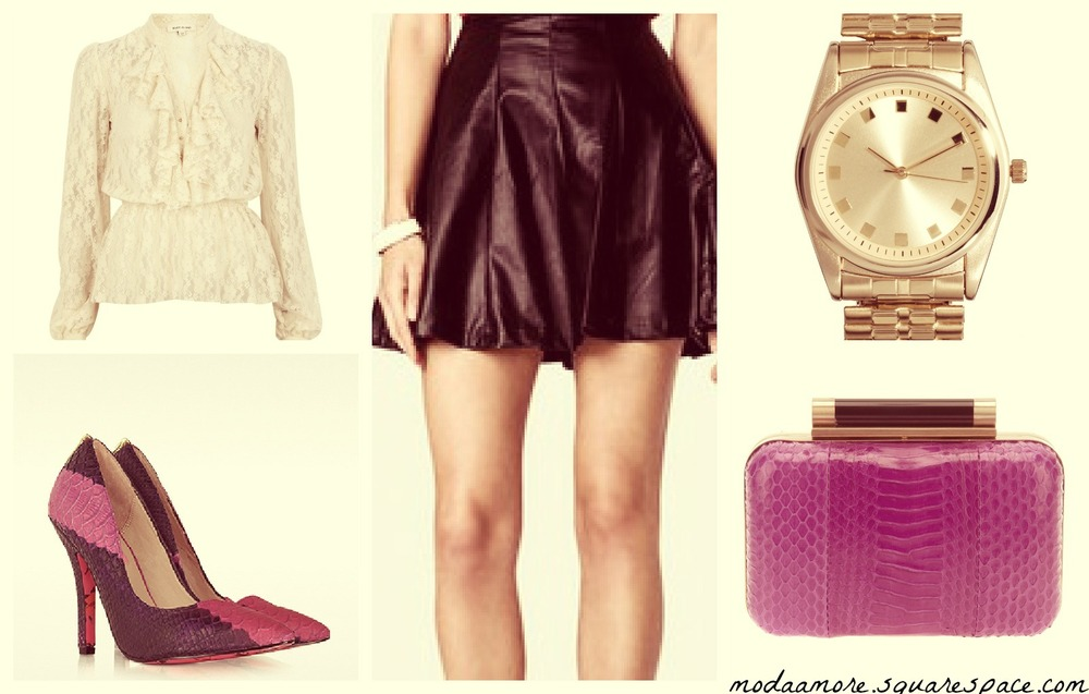 A Romantic Edgy Look.   Cream Lace Long Sleeve Frilly Blouse. Price: $25 RIVERISLAND.COM   Faux Leather A-Line Skirt. Price $22.80 FOREVER21.COM  Betsey Johnson Taylor Embossed Leather Pump. Sale Price: $71.97 Forzieri.com    DIANE VON FURSTENBURG BOX CLUTCH. Sale Price: $337.39 FARFETCH.COM   ASOS EXPANDER BOYFRIEND WATCH. Price:$43.85 ASOS.COM
