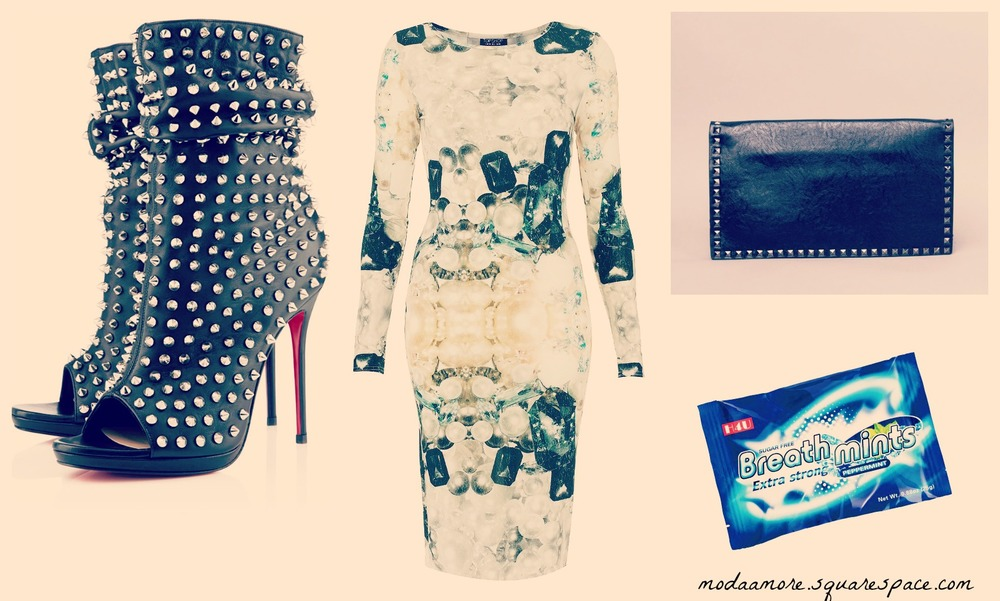 Jewelbox Midi Bodycon Dress. Price:$90 TOPSHOP.COM  Christian Louboutin Guerilla Peep-Toe Ankle Boots Price: $1,995 MYTHERESA.COM   Gelinda Clutch. Price:$10 SHOPAKIRA.COM  Breathmints. Price:$1.09 CVS