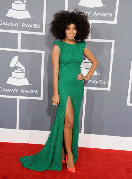 Solange Knowles in Ralph & Russo Couture.. color blocking with her Louboutins