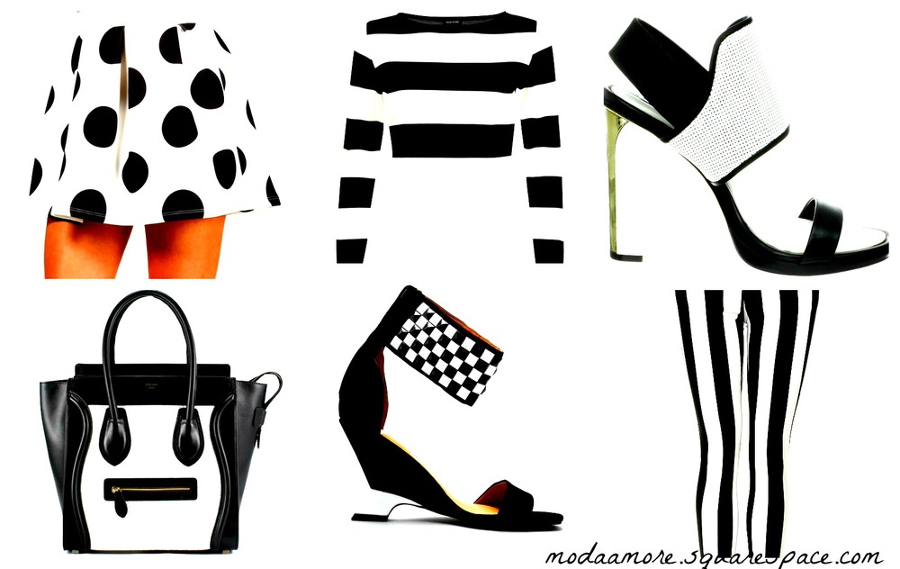 White/Black Polka Dot Skater Skirt. Price: $29.90 Windsorstore.com Black & White Chunky Striped Crop Top. Price: $40.00 Riverisland.com BCBGMAXAZRI Jovian Wedge Sanda. Price:$275 Amazon.com Celine Luggage. Price:$3,69 Dreamer-ST Jeffery Campbell. Price: $143.95 Lorisshoes.com Moto Stripe Leigh Jeans. Price: $80.00 Topshop.com