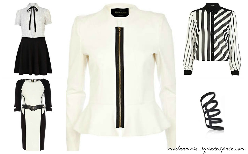 White structured peplum jacket Price: $90 Black & White Spot 2 in 1 Skater Dres. Price:$70 Black & White Multi Stripe Blouse. Price: $60  Black & White Colour Block Bodycon Dress. Price:$9 Earcuff.Price: $ All Items are from Riverisland.com