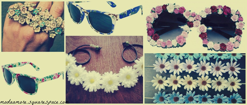 Floral Cluster Knuckle Ring Found at Etsy.com Price:$28 Women's Blue Floral Sunglasses. Overstock.com $12.99 Women's Green Floral Sunglasses. Overstock.com $12.99Rose Riot Sunglasses Price: £15.00 dollybowbow.co.uk The Jena $30 &The Katherine $30 Found at THATMADONNAGIRL.COM
