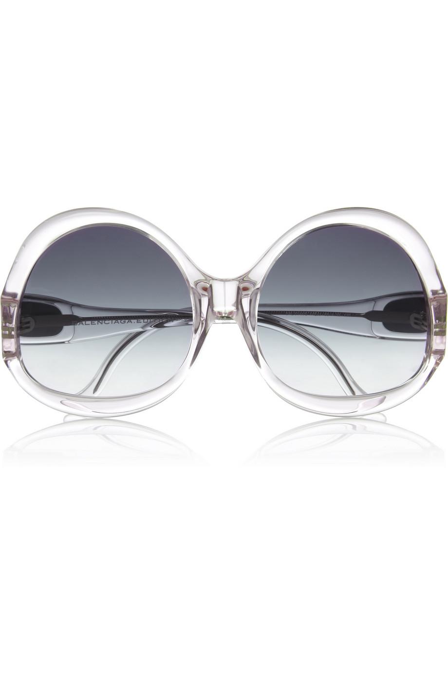 Balenciaga Oversized Round Frame Acetate Sunglasses $120 THEOUTNET.COM