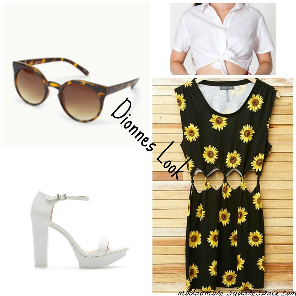 Twisted Cutout Sunflower Dress Pacsun.com $39.95   Poplin Mid-length Tie-Up Blouse. Americanapparel.net $46.00   F21 Tortoise Frame Sunglasses $5.80 Forever21.com   Block Heel White Platform Sandal. $99.90 Zara.Com