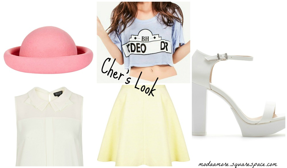 Rodeo Drive Crop Tee. $44.99 Lovepoppy.com  Lemon Baby Cord Skater Skirt. $20.00 topshop.com  Shell top with collar detail. $60.00 topshop.com  Mini Roller Hat. $50.00 toshop.com    Block Heel White Sandal. $99.90 zara.com
