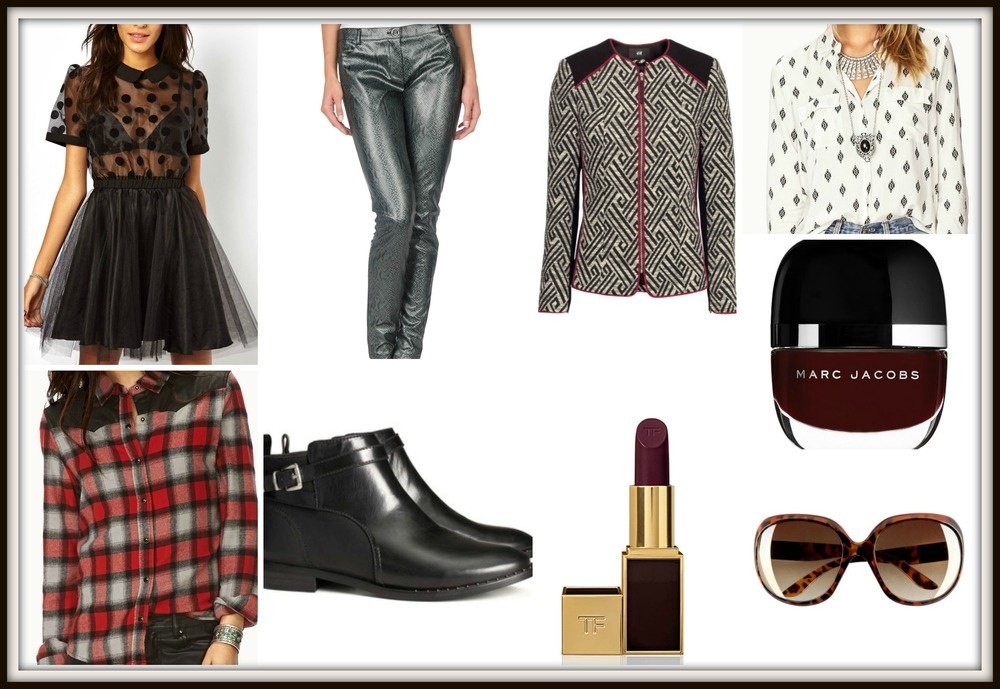 Marc Jacobs High Shine Nail Lacquer   Color   							  138 Jezebel. Price: $18.00       F21 Remixed Plaid Flannel. Price:$22.80  Pinko Snake Leather Pants. Price:$45.00  Dress With Sheer Polka Dots. Price: $33.75   Spitfire Sunglasses. Price:$10.00  Tom Ford Lipstick Bruised Plum. Price:$49.00 (My Favorite Pick)    H&M Low Boots. Price:$49.95