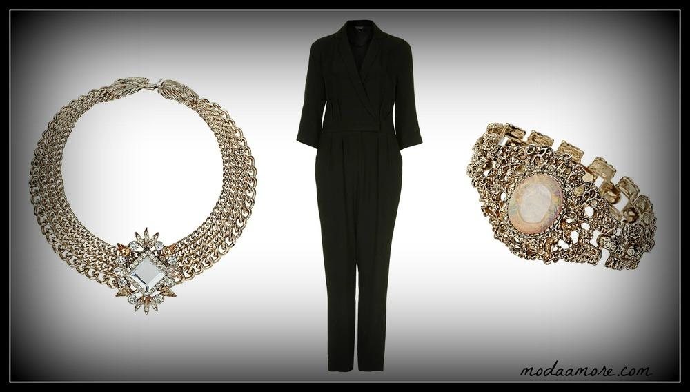 Black Wrap Jumpsuit Price: $120.00  TOPSHOP.COM   Premium Four Row Stone Collar. Price:$110.00  TOPSHOP.COM   Vintage Opal Bracelet. Price:$25  TOPSHOP.COM