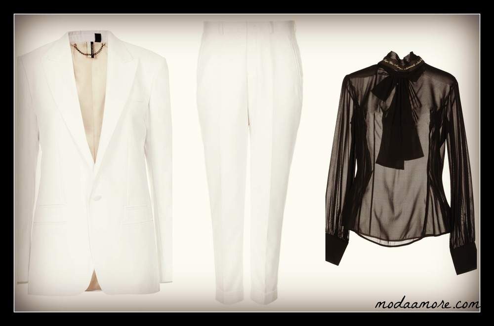 Modern Tailoring Tux Blazer. Price:$198 TOPSHOP.COM Modern Tailoring Tux Trouser. Price:$100 TOPSHOP.COM Frankie Morello Blouse. Price:$109 YOOX.COM