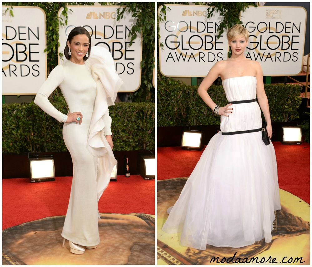 Paula Patton in Stephanie Rolland, Jennifer Lawrence in Christian Dior Couture