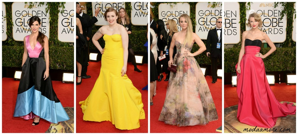 Sandra Bullock in Prabal Gurung, Lena Dunham in Zac Posen, Kaley Cuoco in Rani Zakhem Couture, Taylor Swift in Carolina Herrera