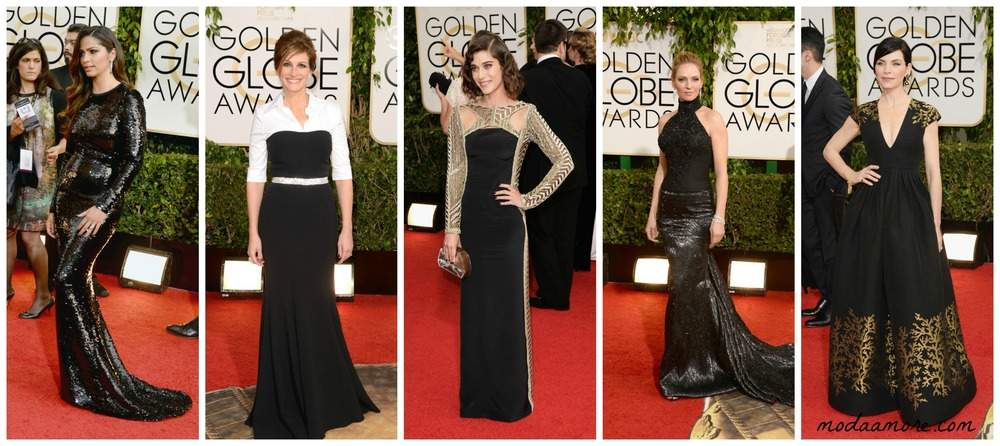 Uma Therman in Versace, Julia Roberts in Dolce and Gabbana,Lizzy Caplan in Emilio Pucci, Julianna Margulies in Andrew GN