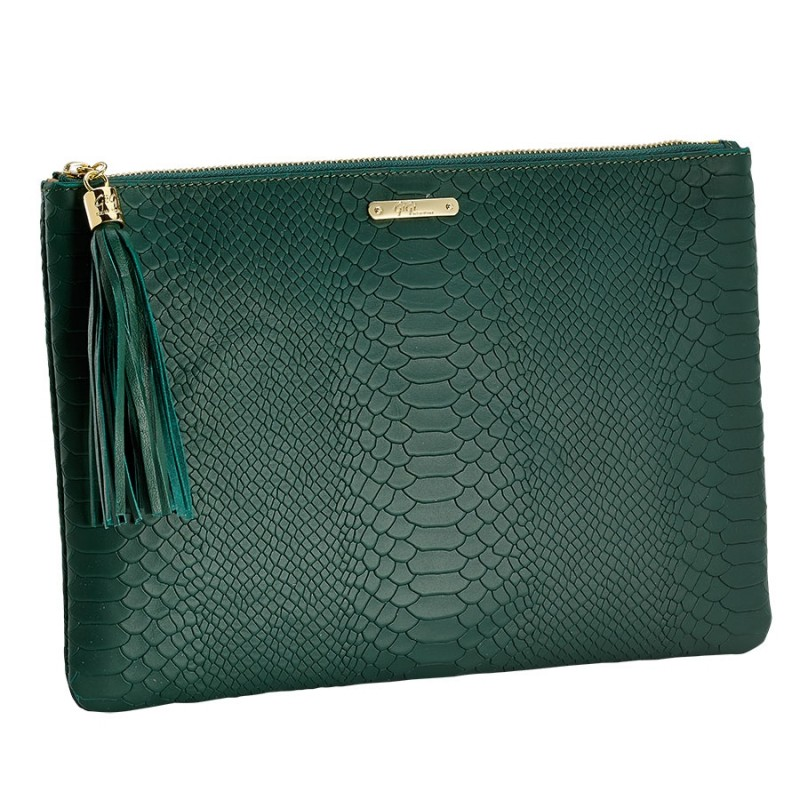 "GIGI NEW YORK ""UBER"" EMERALD LEATHER CLUTCH. SHIRISE.COM PRICE: $130.00"