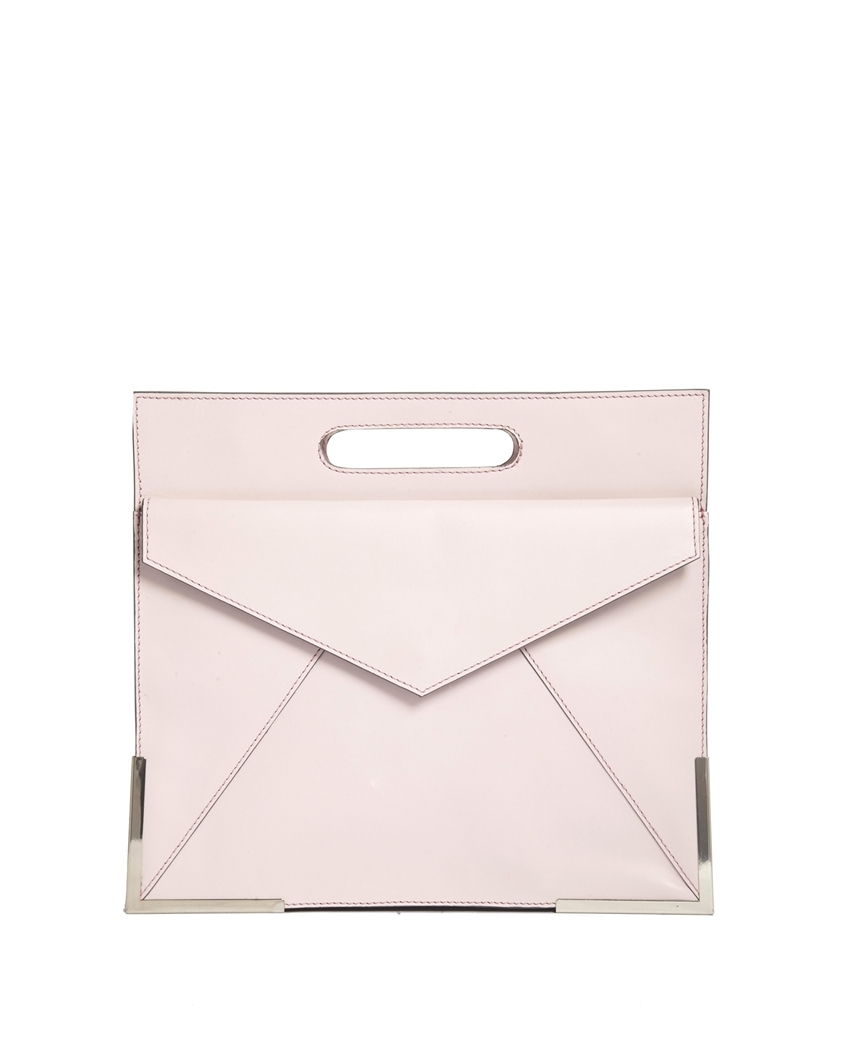ASOS.COM LEATHER ORGANIZER CLUTCH BAG WITH METAL CORNERS $84.69