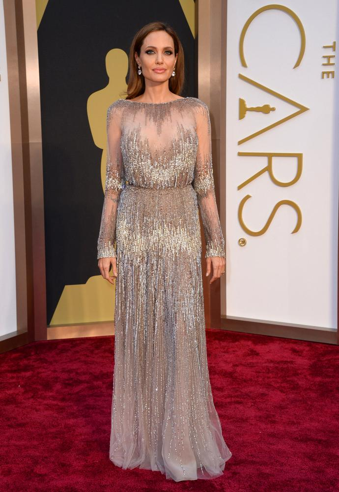Angelina Jolie in Elie Saab Haute Couture and Robert Procop Jewels