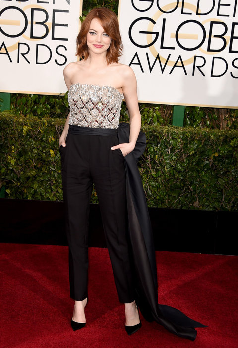 Emma Stone in Lanvin. Ah mens wear inspired with a BOW. IDEAL!