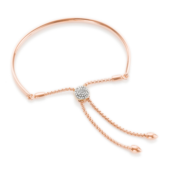 CLICK HERE ROSE GOLD VERMEIL FIJI DIAMOND TOGGLE FRIENDSHIP BRACELET