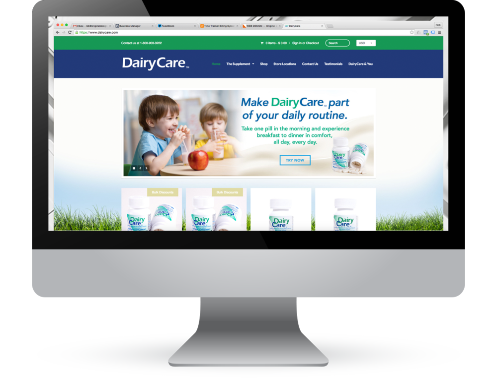 DAIRYCARE.COM E-commerce and informational website for lactose intolerance dietary supplement company DairyCare.