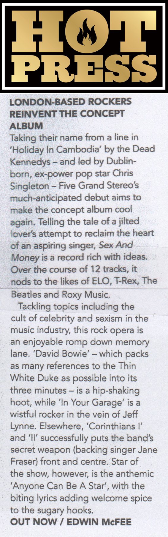 Hotpress review of 'Sex and Money'