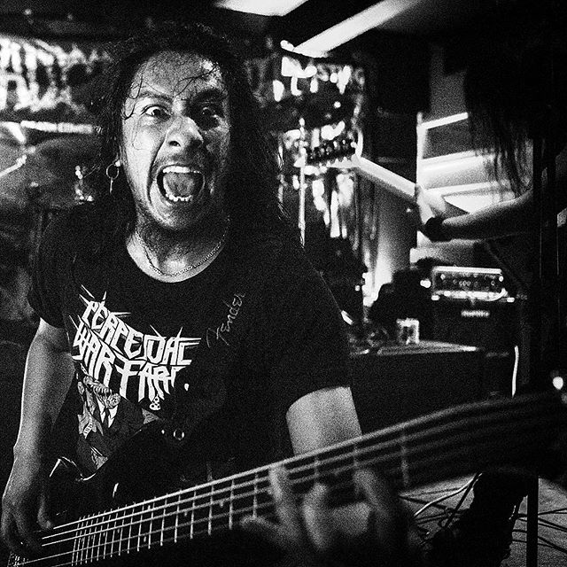 Catching up with the local scene in Colombia. @perpetualwarfare great thrash metal band from Bogotá! Tight riffs, flying v guitars and crazy stage antics.