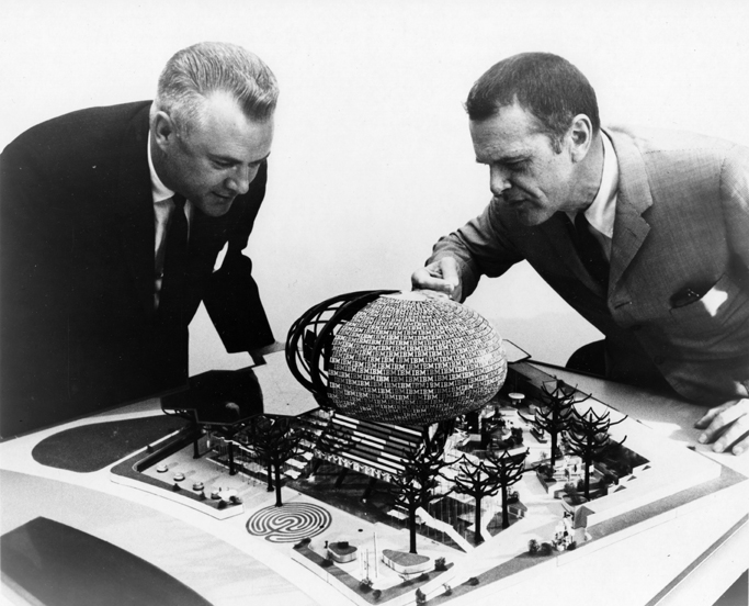 Charles Eames discussing the model for the IBM Pavilion at the 1964 NY World's Fair.