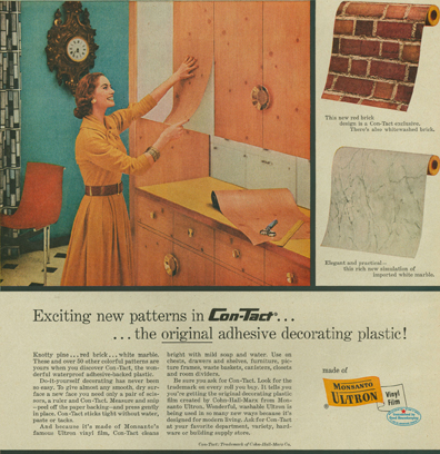 1955 Con-Tact Knotty Pine Ad