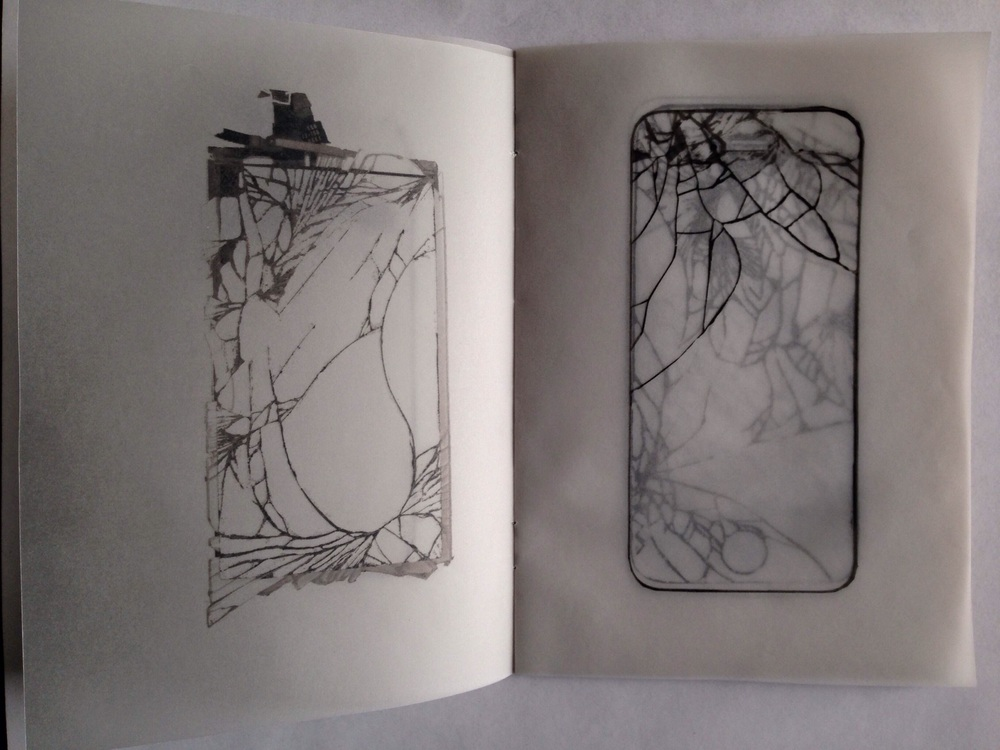 Daniela Torres - Smash, 2015.   Daniela first brought 20 broken smartphones found at electronic junkyards. After working on her idea, she abstarcted a series of drawings on tracing paper, creating a booklet that speaks clearly about fragility, consumerism and obsolence in the mobile era.