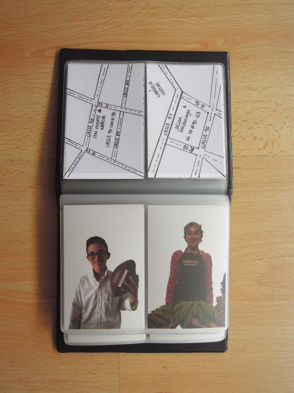 Juliana Galvis - Virrey, Tadeo, Carabelas, 2015. Juliana developed a human cartography based on her journeys across the three different neighborhoods she frequents the most. For her, these linear paths are defined by the people who demark the territory: fruit vendors, locals at coffee shops etc. She devoleped a series of trading cards presenting portrait photographs, where the subjects are removed from the context, and a cartographic drawing of their location on the back of the card. She also created an installation suggesting the crossing of her journeys, connecting the cards using threads and presenting this as personal maps of her own experience in the city.