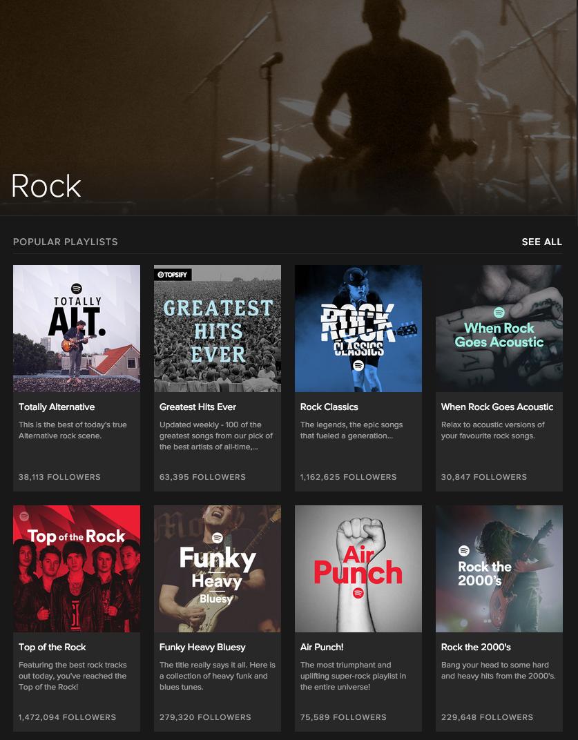 La pagina dedicata al Rock su Spotify