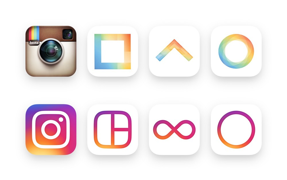 Le nuove icone app di Instagram,Layout, Boomerang, e Hyperlapse