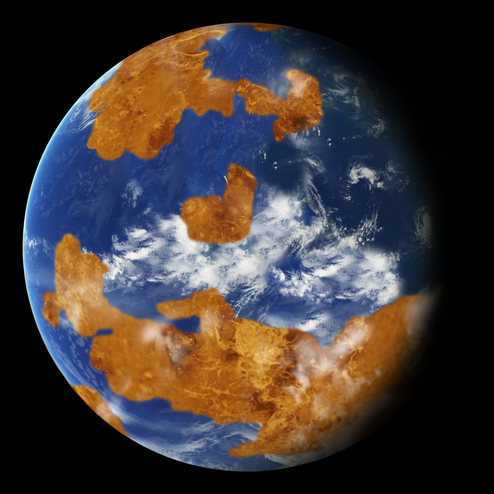 Observations suggest Venus may have had water oceans in its distant past. A land-ocean pattern like that above was used in a climate model to show how storm clouds could have shielded ancient Venus from strong sunlight and made the planet habitable. Credits: NASA