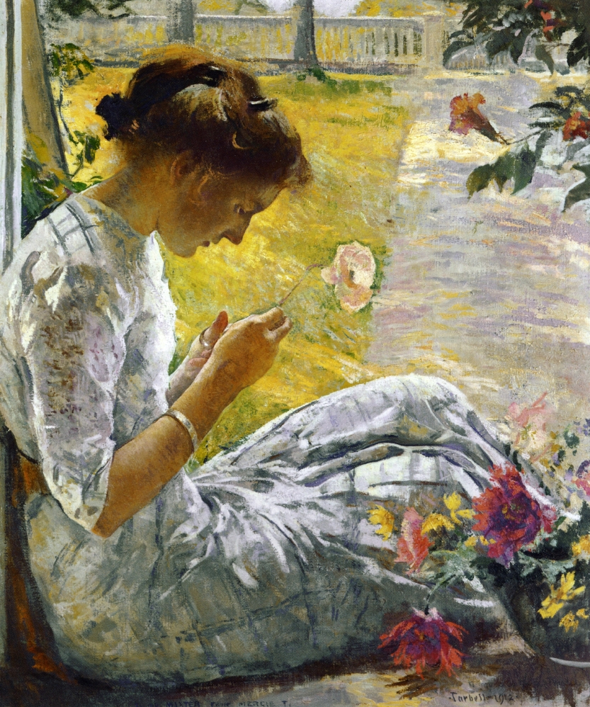 Mercie Cutting Flowers by Edmund Tarbell