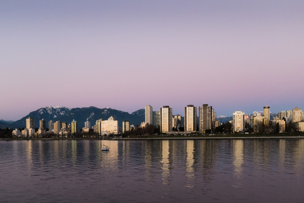 The first is golden: downtown Vancouver & the North Shore's mountains, 01 January 2016