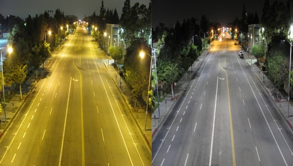 Los Angeles on film before (left) and after the switch to LED streetlamps