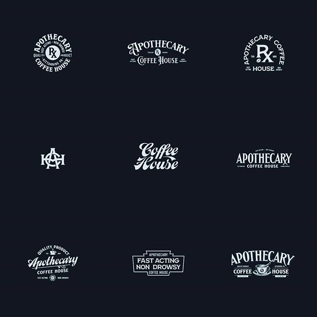 Logo graveyard of unchosen concepts. Not really sure what went wrong with this project because I was really feeling some of these. Pouring one out for each one of these homies. ☕⚰️ #logodesinger #coffeebranding #typography #customtype