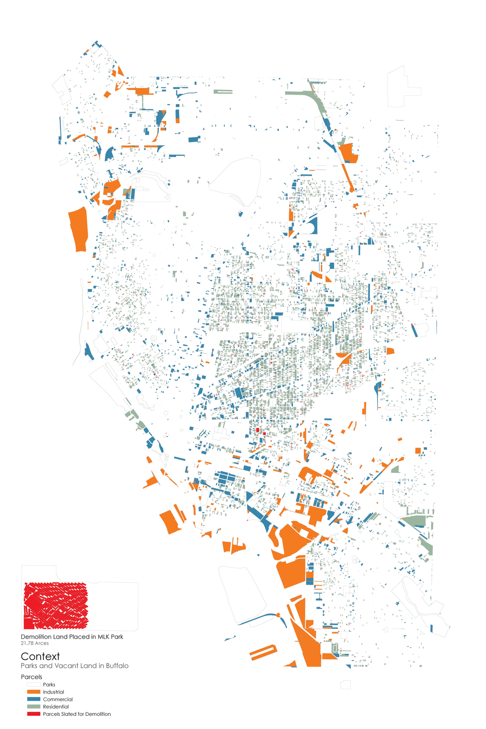 Map of all vacant land in Buffalo color coded by type.