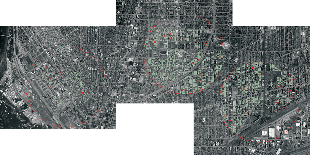 This image shows the location of the neighborhoods that were analyzed and their proximity to each other. Green parcels represent currently vacant land and red parcels are properties slated for demolition.  From left: Westside, Masten and Broadway-Fillmore
