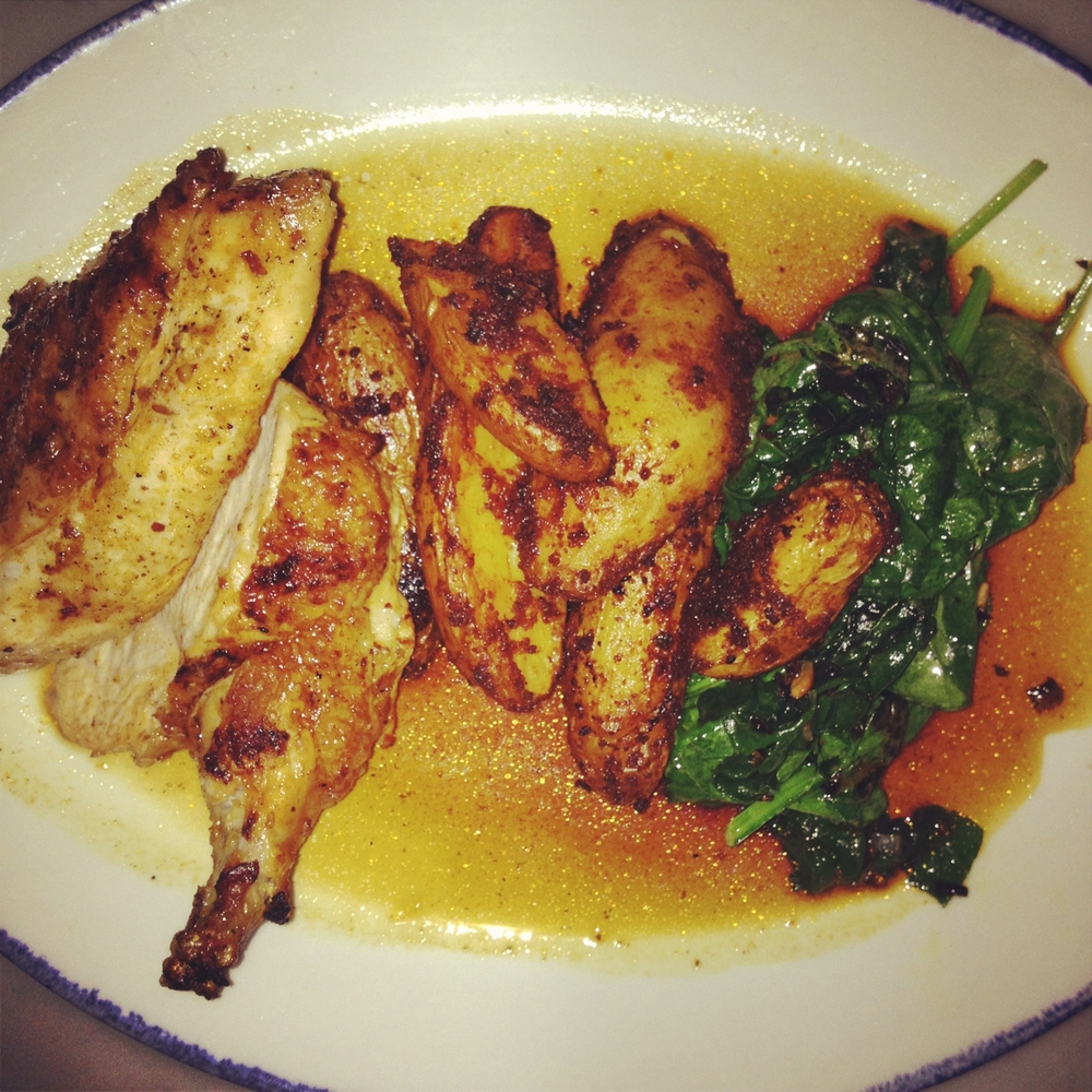 Brick Chicken - Moroccan spices, spinach, toasted sunflower seeds, crispy potatoes, red wine reduction 19.95.