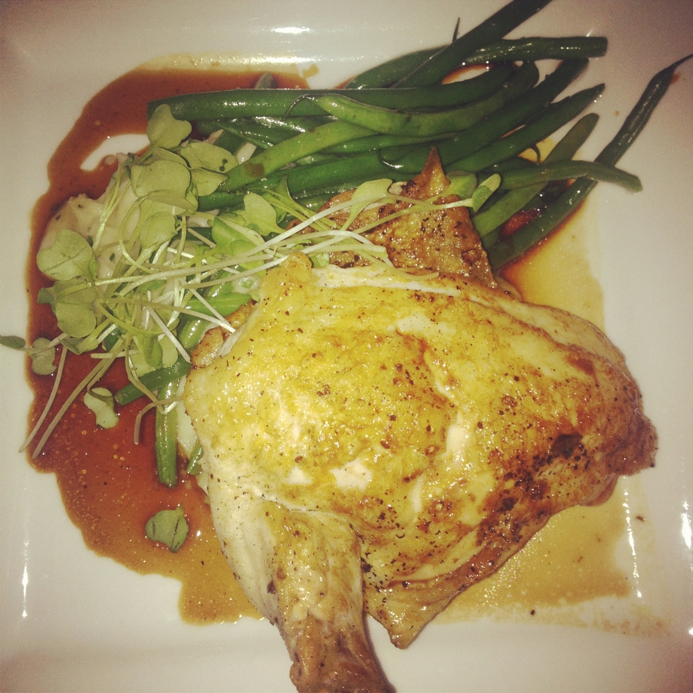 Oven roasted bone-in chicken breast     Rosemary jus     25