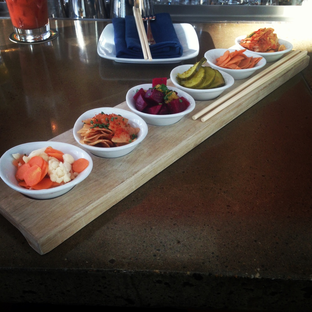 Pickle Board - daikon, kimchee, escabeche, beets, cucumbers, seasonal selection.