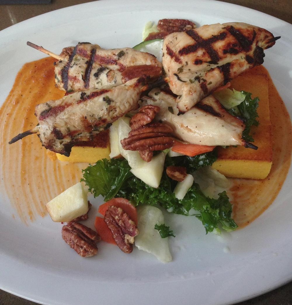 Grilled Chicken Skewers -aged cheddar polenta cakes, kale & autumn vegetable salad, spiced pecans, buttermilk-apple cider vinaigrette.