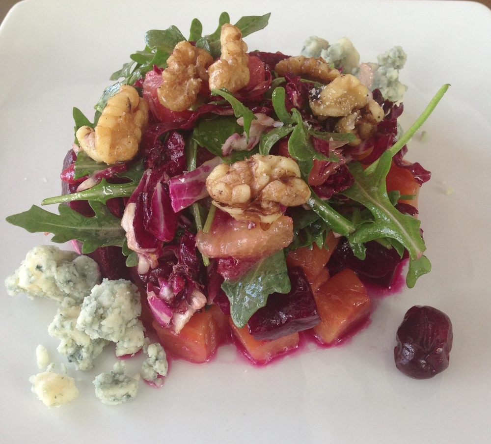 Roasted Beet Salad - Door County tart cherries, radicchio, citrus fruits, Hook's Honey Blue Paradise, roasted walnuts.