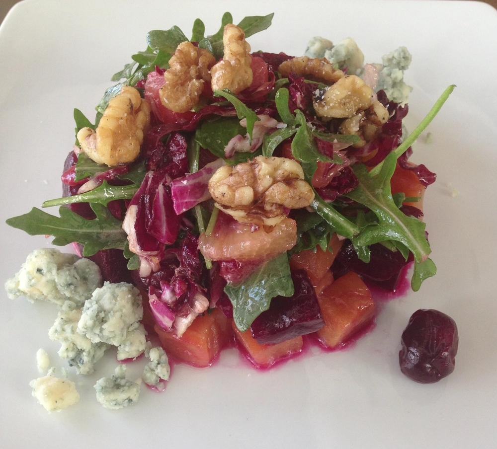 Roasted Beet Salad -Door County tart cherries, radicchio, citrus fruits, Hook's Honey Blue Paradise, roasted walnuts.