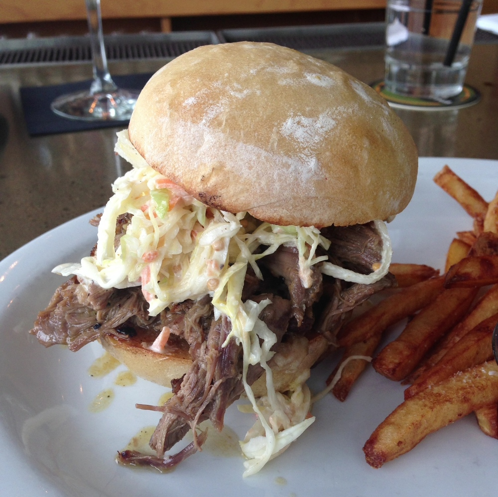 Smoked Lamb - mustard barbeque sauce, sweet onion, coleslaw on ciabatta.