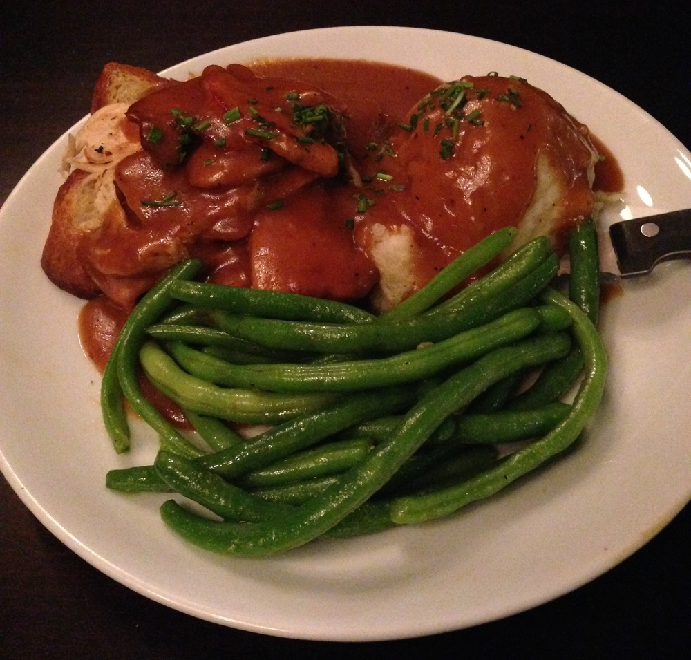 Opened-Faced Turkey - thinly- shaved roasted turkey and gravy over toasted Challah bread with mashed potatoes and green beans