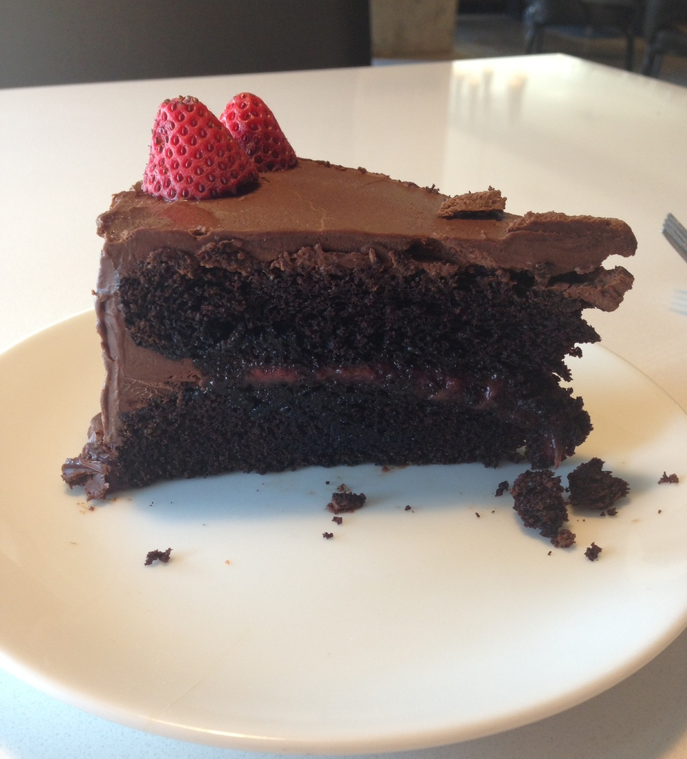 Dessert Special - double chocolate cake with a strawberry filling.