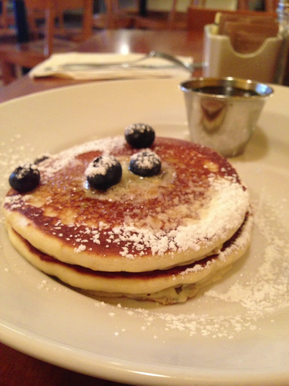 Short stack of blueberry pancakes