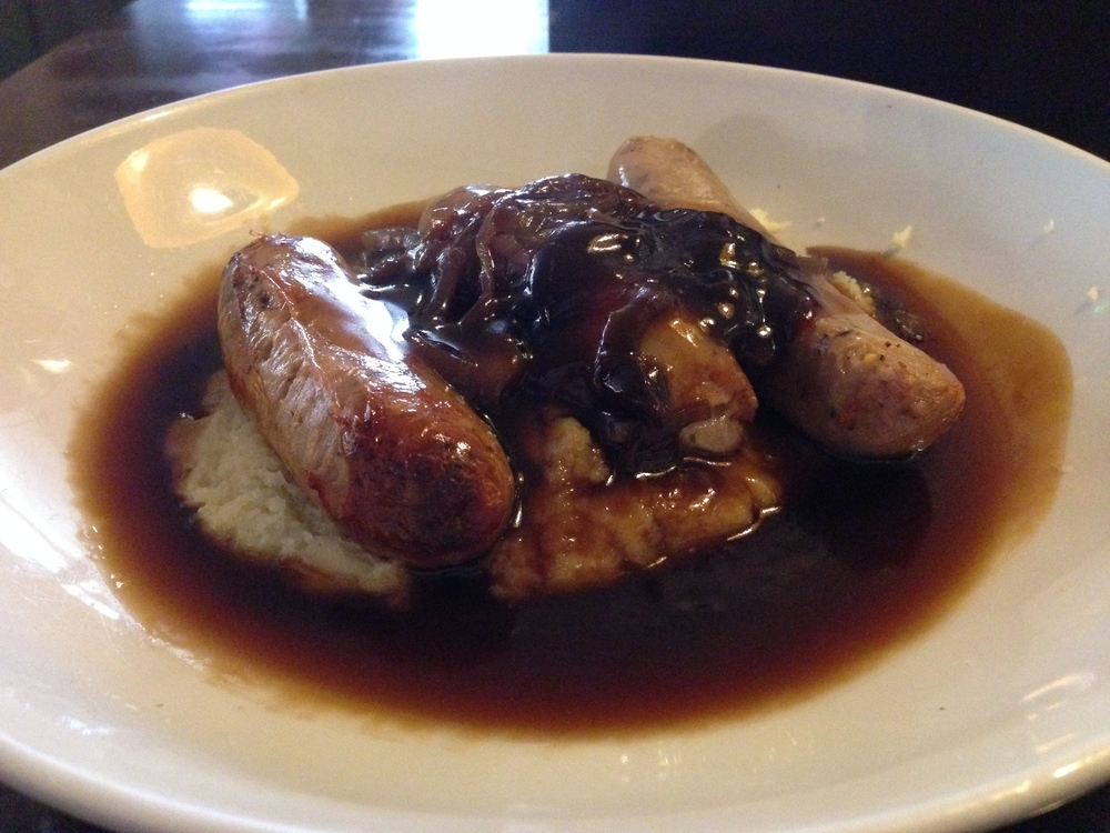 Bangers and Mash with Red Onion Gravy.