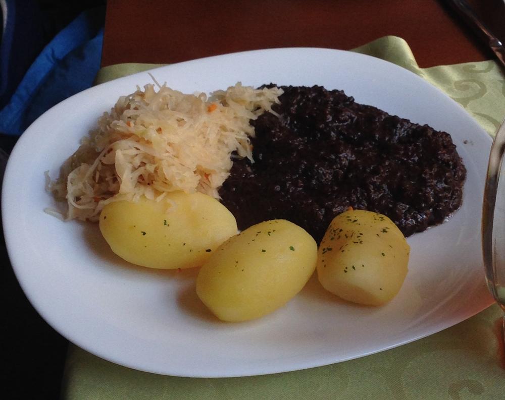 Blood Sausage with sauerkraut and potato.